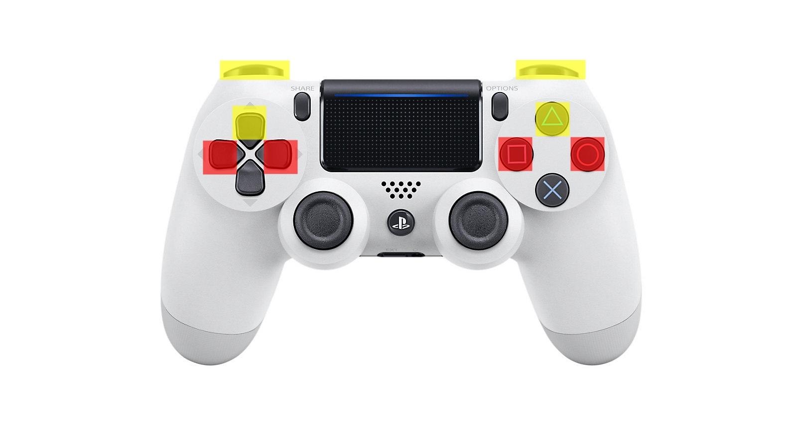 使用するコントローラーのボタン